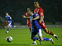 Photo: Steve Bond/Richard Lane Photography. Leicester City v Leyton Orient. Coca Cola League One. 10/01/2009. Tamika Mkandawire (R) brings down Mark Davies (L) for the penalty