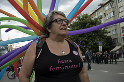 June 10, 2017 - Sofia, Bulgaria - People march as they take part in the annual Gay Pride Parade in central Sofia on June 10, 2017. The 10th annual Sofia Pride was promoting the principle of equal treatment for lesbian, gay, bisexual, and transgender and intersex LGBTI people. (Credit Image: © Hristo Vladev/NurPhoto via ZUMA Press)