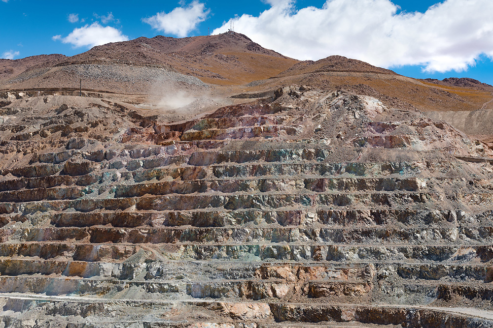 Front view of the pit of an open-pit copper mine in Chile.