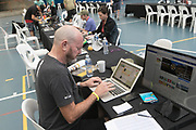 The media centre during the Prologue of the 2018 Absa Cape Epic Mountain Bike stage race held at the University of Cape Town (UCT) in Cape Town, South Africa on the 18th March 2018<br /> <br /> Photo by Greg Beadle/Cape Epic/SPORTZPICS<br /> <br /> PLEASE ENSURE THE APPROPRIATE CREDIT IS GIVEN TO THE PHOTOGRAPHER AND SPORTZPICS ALONG WITH THE ABSA CAPE EPIC<br /> <br /> {ace2018}