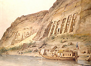 Abu Simbel viewed from the Nile. Watercolour by Hector Horeau (1801-1872) French Architect. Nearest is Temple of Hathor. Furthest are statues of Rameses II (ruled c1304-c1273 BC) outside main temple.  Archaeology Egyptian Houseboat