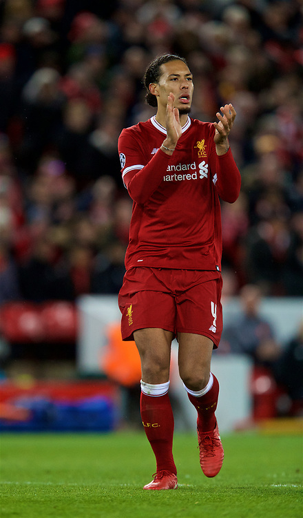 LIVERPOOL, ENGLAND - Wednesday, April 4, 2018: Liverpool's Virgil van Dijk during the UEFA Champions League Quarter-Final 1st Leg match between Liverpool FC and Manchester City FC at Anfield. (Pic by David Rawcliffe/Propaganda)