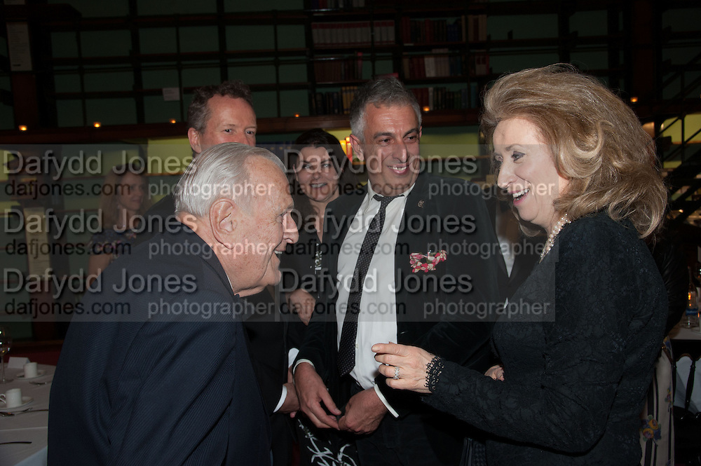 SIR JOHN RICHARDSON; RIFAT OZBEK; LADY WOLFSON, The London Library Annual  Life in Literature Award 2013 sponsored by Heywood Hill. The London Library Annual Literary dinner. London Library. St. james's Sq. London. 16 May 2013.