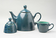 Matching Tea pot, milk jug and sugar bowl, on white background
