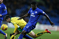Bruno Ecuele Manga of Cardiff city in action. EFL Skybet championship match, Cardiff city v Norwich city at the Cardiff city stadium in Cardiff, South Wales on Friday 1st December 2017.<br /> pic by Andrew Orchard, Andrew Orchard sports photography.