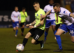 Marcus Maddison of Peterborough United in action with Peter Clarke of Bury - Mandatory by-line: Joe Dent/JMP - 13/03/2018 - FOOTBALL - Gigg Lane - Bury, England - Bury v Peterborough United - Sky Bet League One