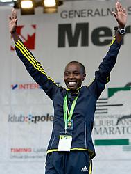 Winner Caroline Cheptonui Kilel of Kenya  at the medal ceremony of the 14th Marathon of Ljubljana, on October 25, 2009, in Ljubljana, Slovenia.  (Photo by Vid Ponikvar / Sportida)