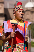 "Inca soldier. Inti Raymi ""Festival of the Sun"", Plaza de Armas, Cusco, Peru."