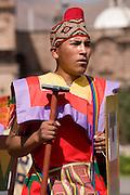"Inca soldier. Inti Raymi ""Festival of the Sun"", Plaza de Armas, Cusco, Peru."