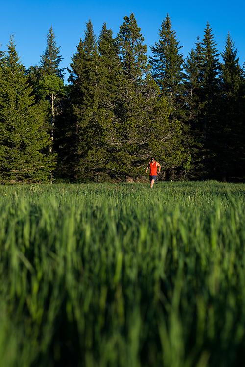 Tim Banfield trail running on the Summit Plateau Trail in Cypress Hills Provincial Park, Elkwater, Alberta, Canada