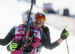 MAKARAINEN Kaisa of Finland and WIERER Dorothea of Italy after the Women 10 km Pursuit competition of the e.on IBU Biathlon World Cup on Saturday, March 8, 2014 in Pokljuka, Slovenia. Photo by Vid Ponikvar / Sportida