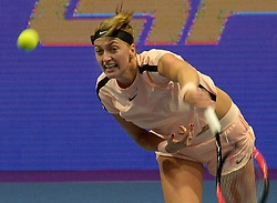 February 3, 2018 - St. Petersburg, Russia - Russia, St. Petersburg, on February 3, 2018. International female tennis tournament of WTA ''St. Petersburg Ladies Trophy2018''. In picture: Petra Kvitova (Czech Republic) at semifinal match of female single games on tournament ''St. Petersburg Ladies Trophy2018'' against Julia Goerges  (Credit Image: © Andrey Pronin via ZUMA Wire)