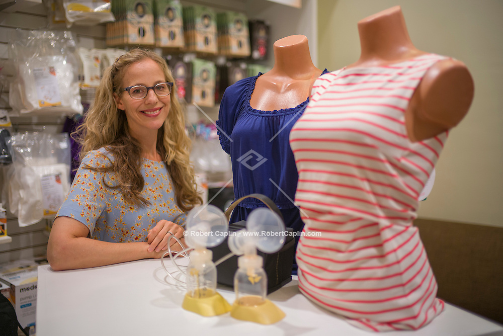 Amanda Cole, owner of Yummy Mummy, a breast pump store on Lexington Avenue in New York.<br /> <br /> (Photo by Robert Caplin)