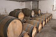 Oak barrel aging and fermentation cellar. Chateau Liot, Barsac, Sauternes, Bordeaux, France