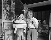 """Y-560612-14. """"Louis Bunce. paintings. June 12, 1956"""" (copies of paintings and portraits. no news story)"""