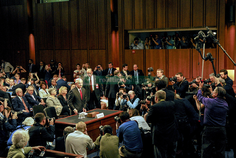 June 13, 2017 - Washington, District of Columbia, U.S - Attorney General Jeff Sessions is surrounded by press photographers at the start of the Senate Intlligence Committee into Russian hacking of the elction. (Credit Image: © Mark Reinstein via ZUMA Wire)