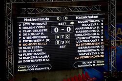 23-09-2014 ITA: World Championship Nederland - Kazachstan, Verona<br /> Nederland wint de opening wedstrijd met 3-0 / scorebord item volleybal
