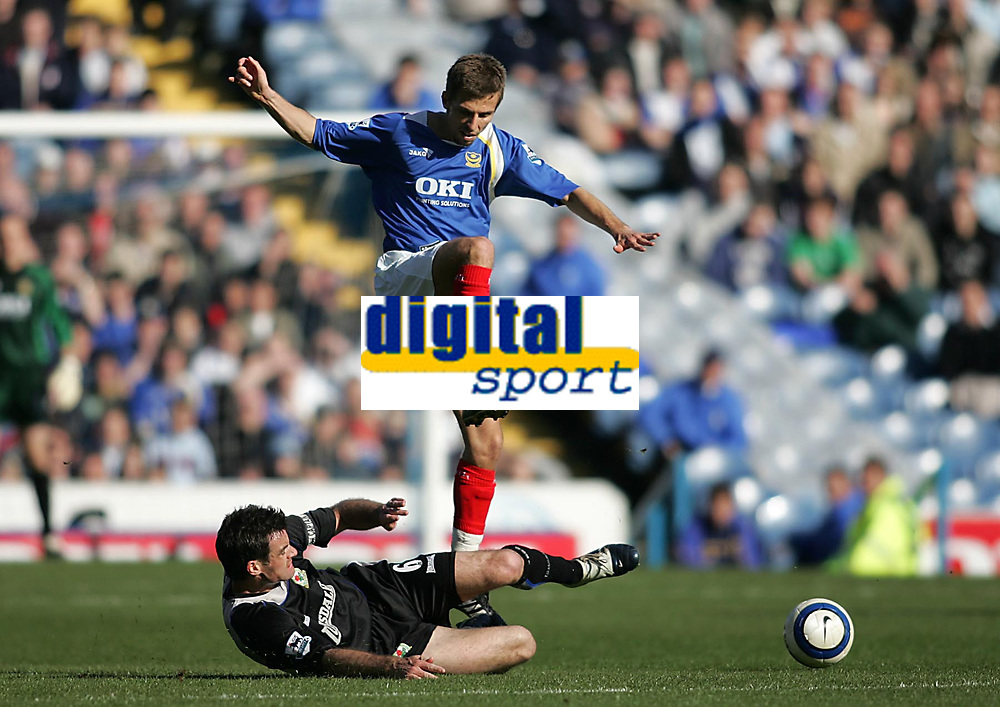 Photo: Lee Earle.<br /> Portsmouth v Blackburn Rovers. The Barclays Premiership. 08/04/2006. Blackburn's Ryan Nelsen (L) slides in on Gary O'Neil.