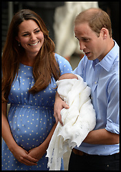 The Duke and Duchess of Cambridge with their new baby boy outside the Lindo Wing of St Mary's Hospital, their son was Born on Monday July 22, 2013, London, Tuesday, 23rd July 2013<br /> Picture by Andrew Parsons / i-Images