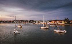 THEMENBILD - Boote ankern vor der Stadt nach Sonnenuntergang, aufgenommen am 03. Juli 2020 in Novigrad, Kroatien // Boats anchor in front of the town after sunset in Novigrad, Croatia on 2020/07/03. EXPA Pictures © 2020, PhotoCredit: EXPA/ JFK