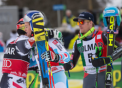 22.12.2013, Gran Risa, Alta Badia, ITA, FIS Ski Weltcup, Alta Badia, Riesenslalom, Herren, 2. Durchgang, im Bild v.l.n.r. Marcel Hirscher (AUT, 1. Platz), Alexis Pinturault (FRA, 2. Platz), Ted Ligety (USA, 3. Platz) // f.l.t.r. 1st place Marcel Hirscher of Austria, 2nd place Alexis Pinturault of France and 3rd place Ted Ligety of the USA reacts in the finish Area during 2nd run of mens Giant Slalom of the Alta Badia FIS Ski Alpine World Cup at the Gran Risa Course in Alta Badia, Italy on 2012/12/22. EXPA Pictures © 2013, PhotoCredit: EXPA/ Johann Groder