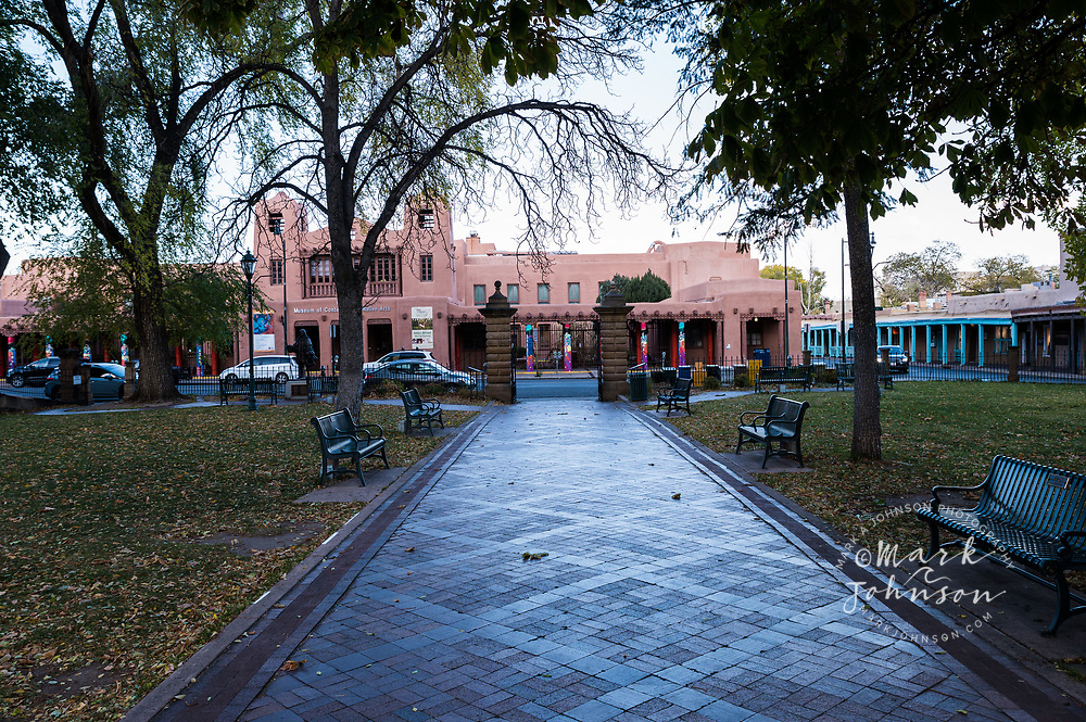 Historic adobe building, Old Town Santa Fe, New Mexico, USA