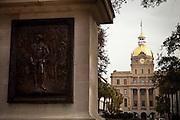 State of George Washington in Washington Square with the city hall   Savannah, Georgia, USA.