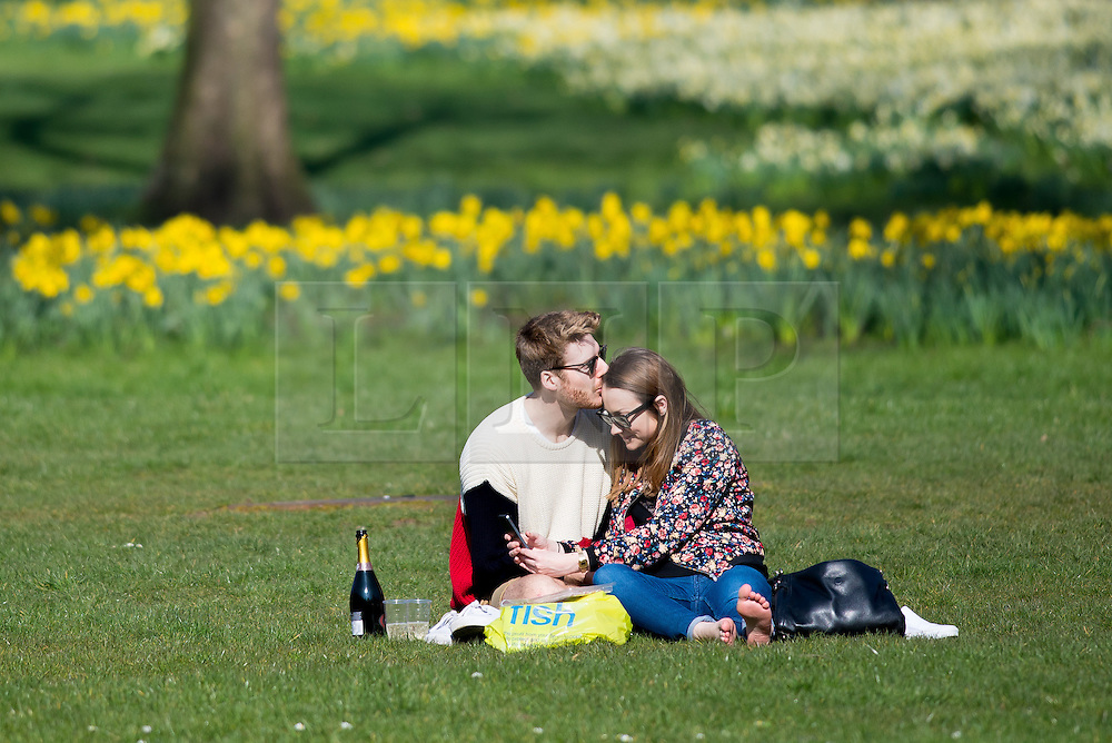 © Licensed to London News Pictures. 09/03/2014. Green Park, London. A couple enjoying the fine weather in Green Park as temperatures are forecast to reach up to 18 degress centigrade today. Photo credit : David Tett/LNP