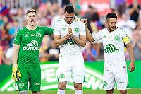 Chapecoense's surviving players of the air crash Alan Ruschel, Jackson Follmann and Helio Zampier Neto before Joan Gamper Trophy. August 7,2017. (ALTERPHOTOS/Acero)