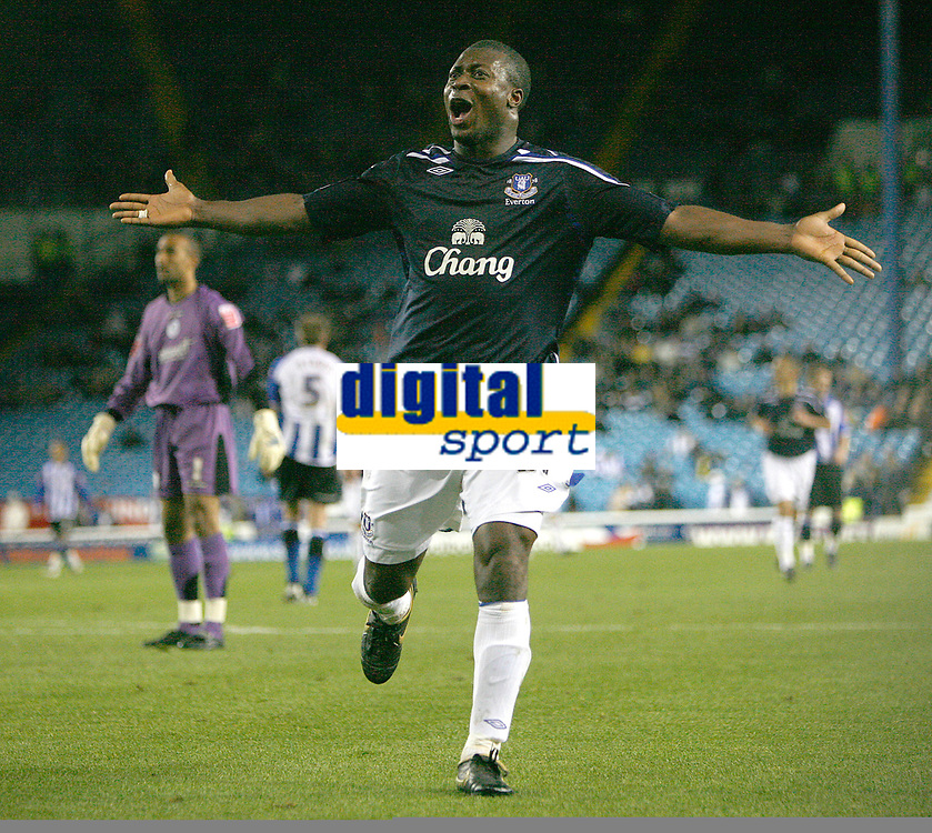 Photo: Steve Bond.<br />Sheffield Wednesday v Everton. Carling Cup. 26/09/2007. Ayegbeni Yakubu enjoys his goal in front of the Everton fans