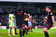Josh Maja of Sunderland (20) scores a goal and celebrates to make the score 0-1 during the EFL Sky Bet League 1 match between Scunthorpe United and Sunderland at Glanford Park, Scunthorpe, England on 19 January 2019.
