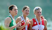 Ottensheim, AUSTRIA.  A  Final,  LW1X, Medallist left, IRL LW1X, Sinead JENNINGS, centre Gold Medallist, Pamela WEISSHAUPT, and right CRO LW1X, Mima RAJLE BRODANAC, Awards Dock,  at the 2008 FISA Senior and Junior Rowing Championships,  Linz/Ottensheim. Sunday,  27/07/2008.  [Mandatory Credit: Peter SPURRIER, Intersport Images] Rowing Course: Linz/ Ottensheim, Austria