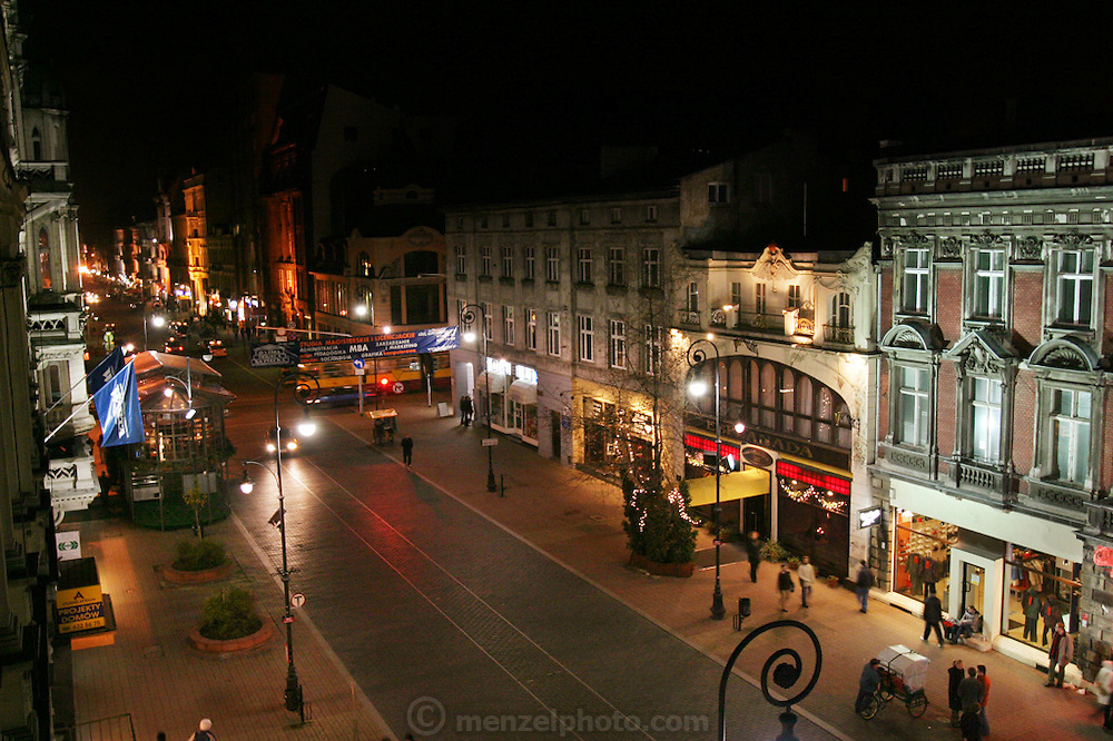 Lodz, Poland main street on All Saints Day eve seen from Olga's grandmother's apartment.
