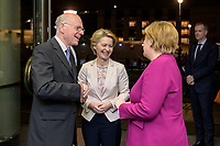 08 NOV 2019, BERLIN/GERMANY:<br /> Norbert Lammert (L), CDU, Praesident der KAS, Ursula von der Leyen (M), gewaehlte EU-Kommissionspräsidentin,  und Angela Merkel (R), CDU, Bundeskanzlerin, im Gespraech vor Beginn der Europa Rede, in diesem Jahr gehalten von Ursula von der Leyen, einer jaehrlich wiederkehrende Stellungnahme der hoechsten Repraesentanten der Europaeischen Union zur Idee und zur Lage Europas, organisiert von der Konrad-Adenauer-Stiftung, der Stiftung Zukunft Berlin und der Stiftung Mercator, Allianz Forum<br /> IMAGE: 20191108-01-016