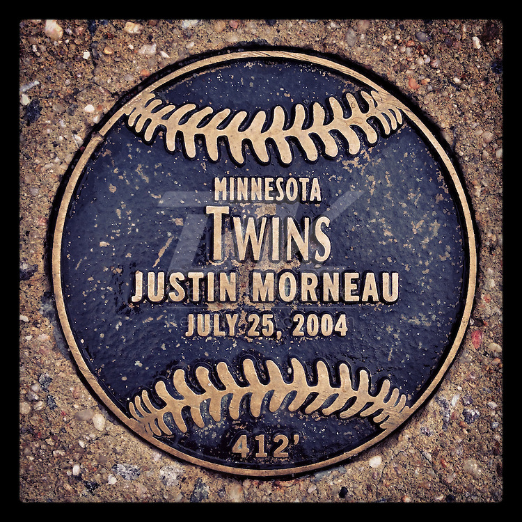An Instagram of the plaque outside Camden Yards marking the spot where a Justin Morneau home run landed in Baltimore, Maryland.