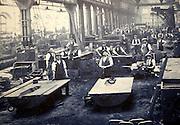 Old photo of workshop workers in Great Western Railway 'Steam' museum, Swindon, Wiltshire, England, UK