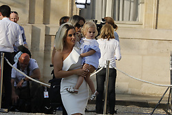 Erika Choperena and her daughter Mia Griezmann companion of Antoine Griezmann seen arriving when France's President Emmanuel Macron and his wife Brigitte received he French team, winner of the FIFA World Cup 2018 in Palais de l'Elyse on July 16th, 2018. . Photo by Henri Szwarc/ABACAPRESS.COM
