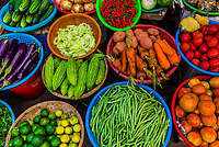 A variety of vegetables for sale at the outdoor market, Central Market, Hoi An, Vietnam.