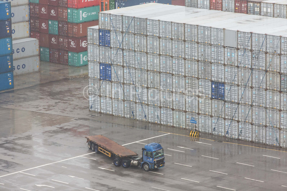 A view of operations at the Guangzhou Nansha Container Port in Guangzhou, China, on Monday, Feb. 1, 2016. The Benjamin Franklin is the largest container ship ever to have docked at a U.S. port.