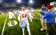 AC Flora Falcons defensive lineman Michael Duke (50) celebrates following their State Championship win over the North Myrtle Beach Chiefs at Benedict College.