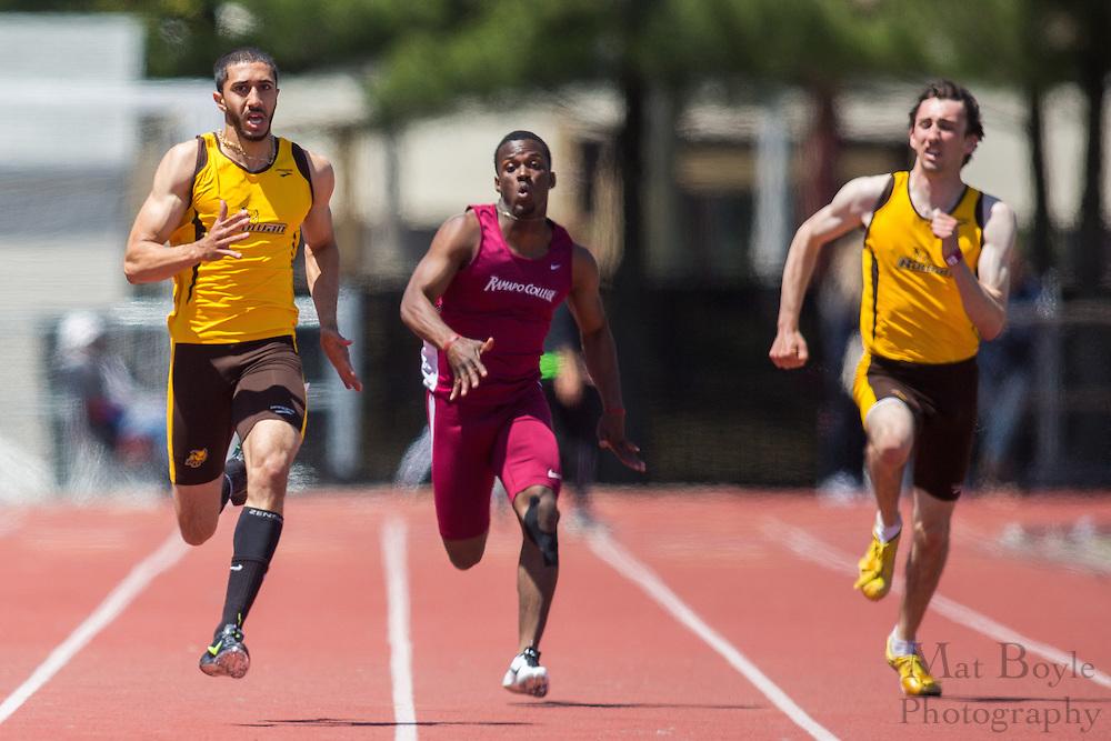 Rowan University's Ali Ejaz competes in the men's 200 meter at the NJAC Track and Field Championships at Richard Wacker Stadium on the campus of  Rowan University  in Glassboro, NJ on Sunday May 5, 2013. (photo / Mat Boyle)