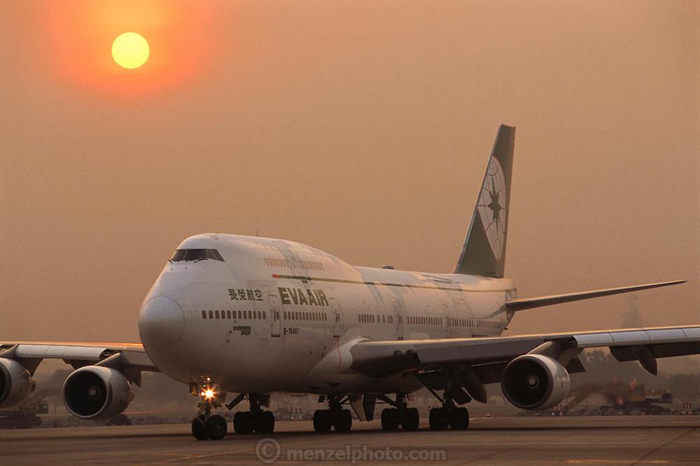 Boeing 747 Jet airplane on the runway in Bangkok, Thailand.