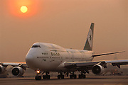 Boeing 747 Jet airplane on the runway in Bangkok, Thailand.