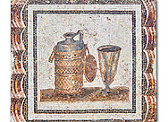 3rd century AD Roman mosaic depiction of a wine flagon & cup. Thysdrus (El Jem), Tunisia.  The Bardo Museum, Tunis, Tunisia. .<br /> <br /> If you prefer to buy from our ALAMY PHOTO LIBRARY  Collection visit : https://www.alamy.com/portfolio/paul-williams-funkystock/roman-mosaic.html - Type -   Bardo    - into the LOWER SEARCH WITHIN GALLERY box. Refine search by adding background colour, place, museum etc<br /> <br /> Visit our ROMAN MOSAIC PHOTO COLLECTIONS for more photos to download  as wall art prints https://funkystock.photoshelter.com/gallery-collection/Roman-Mosaics-Art-Pictures-Images/C0000LcfNel7FpLI