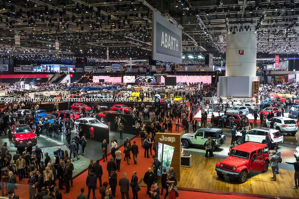 View of exhibition hall at 87th Geneva International Motor Show in Geneva Switzerland 2017