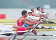 Tampere Kaukajaervi,  FINLAND.   Start of the Men's Lightweight Single Sculls, IRL LM1X Niall O'TOOLE<br /> ITA LM1X Marco AUDISIO.  competing at the 1995 World Rowing Championships - Lake Tampere, 08.1995<br /> <br /> [Mandatory Credit; Peter Spurrier/Intersport-images] Re-Edited and file ref No. updated, 16th January 2021.