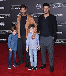 Celebrities arrive at the 'Rogue One: A Star Wars Story' movie premiere in Hollywood, California. 10 Dec 2016 Pictured: Ricky Martin, Matteo Valentino and Jwan Yosef. Photo credit: American Foto Features / MEGA TheMegaAgency.com +1 888 505 6342