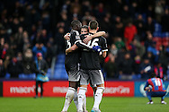 Cesar Azpilicueta of Chelsea hugs Kurt Zouma of Chelsea and John Terry, the Chelsea captain after the final whistle .Barclays Premier League match, Crystal Palace v Chelsea at Selhurst Park in London on Sunday 3rd Jan 2016. pic by John Patrick Fletcher, Andrew Orchard sports photography.