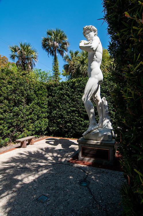Recreation of the Statue of David hidden behind towering shrubs at Ripley's Believe It or Not! museum in St. Augustine, Florida on Friday, March 19, 2021. Copyright 2021 Jason Barnette
