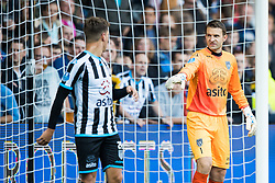 (L-R) Reuven Niemeijer of Heracles Almelo, goalkeeper Bram Castro of Heracles Almelo during the Dutch Eredivisie match between Heracles Almelo and Feyenoord Rotterdam at Polman stadium on September 09, 2017 in Almelo, The Netherlands